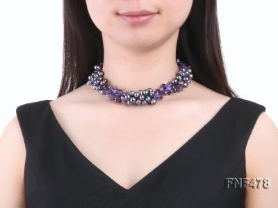 Three-strand 7x9mm Dark-purple Freshwater Pearl and Purple Crystal Chips Necklace FNF478 Image 3