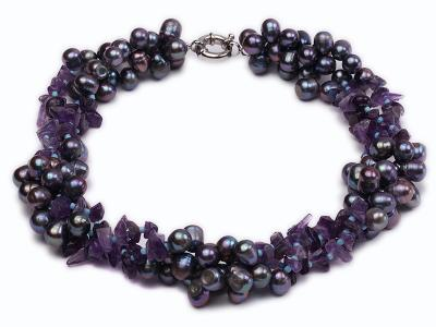 Three-strand 7x9mm Dark-purple Freshwater Pearl and Purple Crystal Chips Necklace FNF478 Image 1