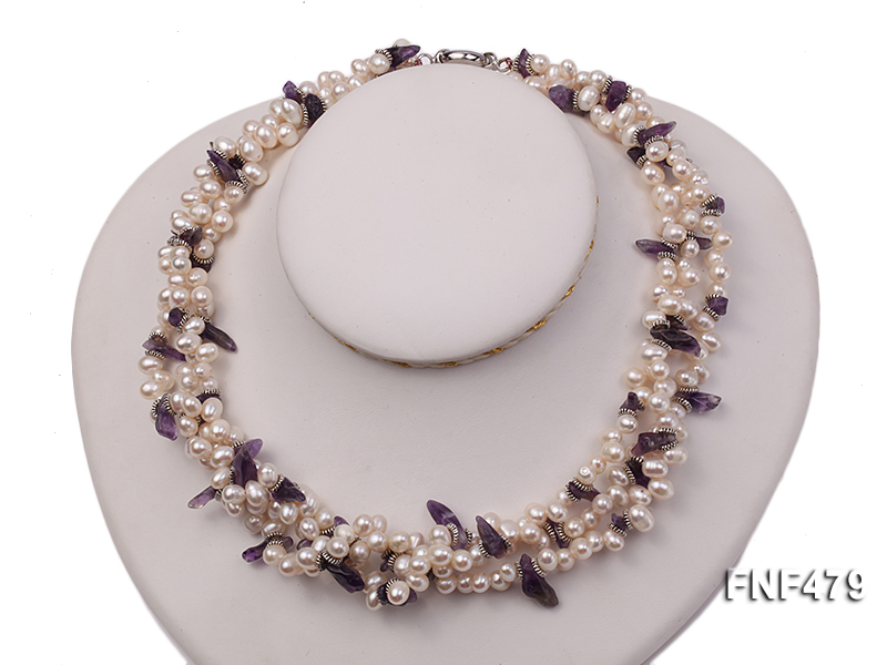 Three-strand 6-7mm White Cultured Freshwater Pearl and Purple Crystal Chips Necklace big Image 1
