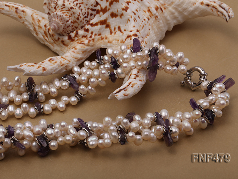 Three-strand 6-7mm White Cultured Freshwater Pearl and Purple Crystal Chips Necklace big Image 2