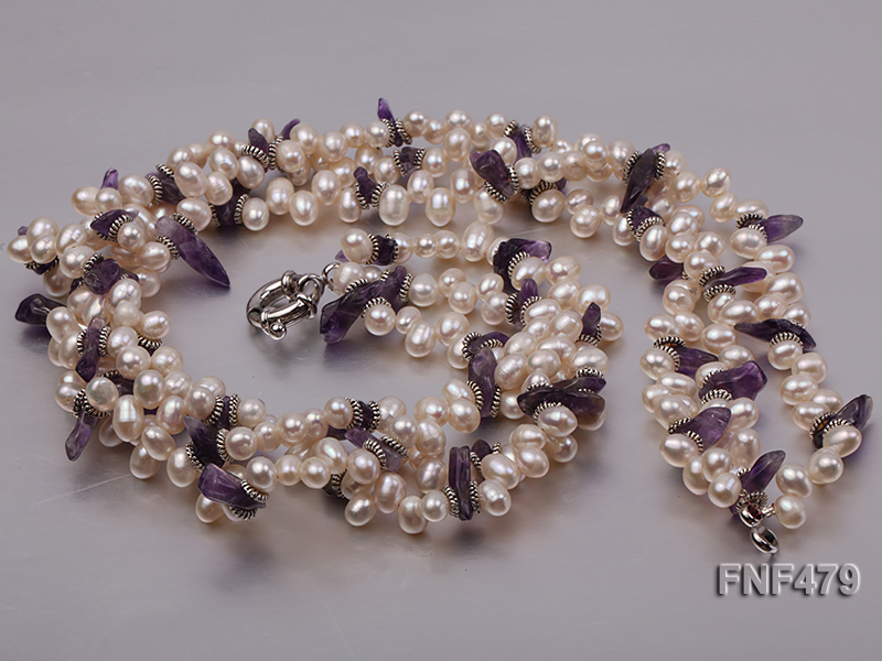 Three-strand 6-7mm White Cultured Freshwater Pearl and Purple Crystal Chips Necklace big Image 3