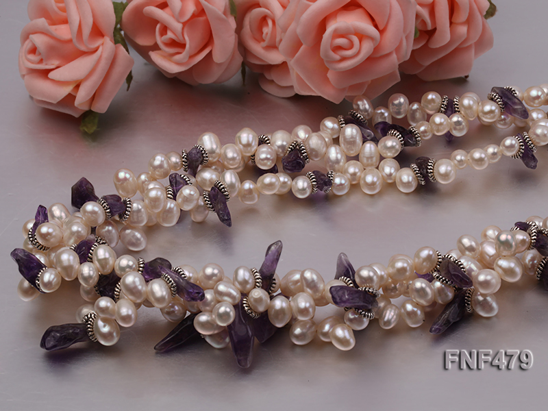 Three-strand 6-7mm White Cultured Freshwater Pearl and Purple Crystal Chips Necklace big Image 6