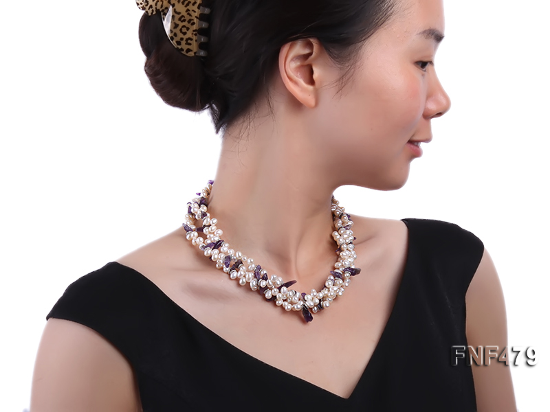 Three-strand 6-7mm White Cultured Freshwater Pearl and Purple Crystal Chips Necklace big Image 5