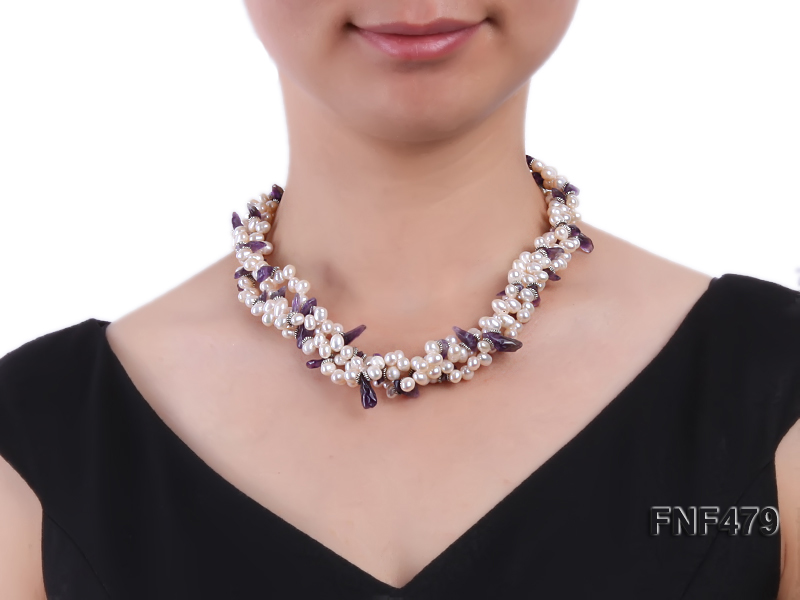 Three-strand 6-7mm White Cultured Freshwater Pearl and Purple Crystal Chips Necklace big Image 4