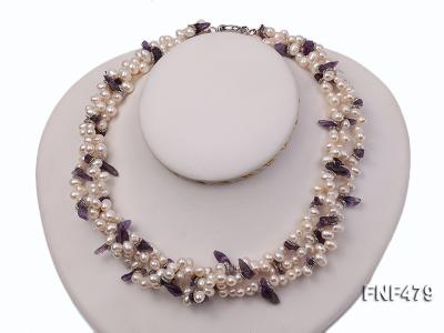 Three-strand 6-7mm White Cultured Freshwater Pearl and Purple Crystal Chips Necklace FNF479 Image 1