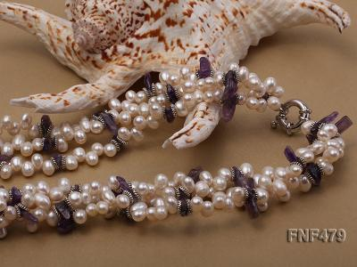 Three-strand 6-7mm White Cultured Freshwater Pearl and Purple Crystal Chips Necklace FNF479 Image 2