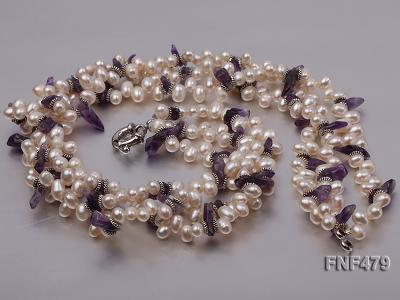 Three-strand 6-7mm White Cultured Freshwater Pearl and Purple Crystal Chips Necklace FNF479 Image 3