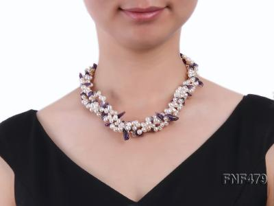 Three-strand 6-7mm White Cultured Freshwater Pearl and Purple Crystal Chips Necklace FNF479 Image 4