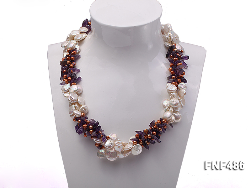 Three-strand White and Coffee Freshwater Pearl and Purple Quartz Chips Necklace big Image 1