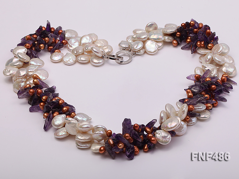 Three-strand White and Coffee Freshwater Pearl and Purple Quartz Chips Necklace big Image 2