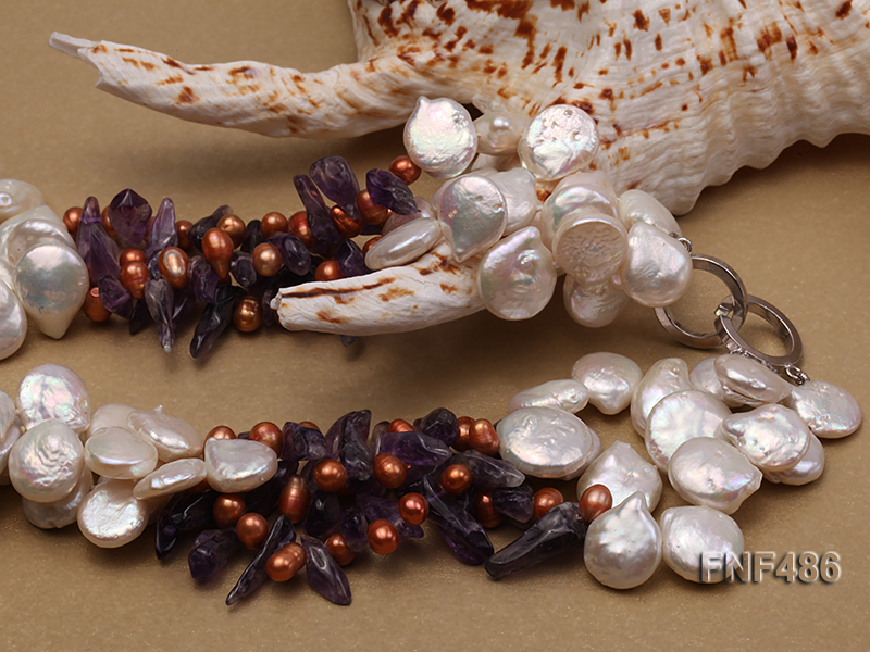 Three-strand White and Coffee Freshwater Pearl and Purple Quartz Chips Necklace big Image 3