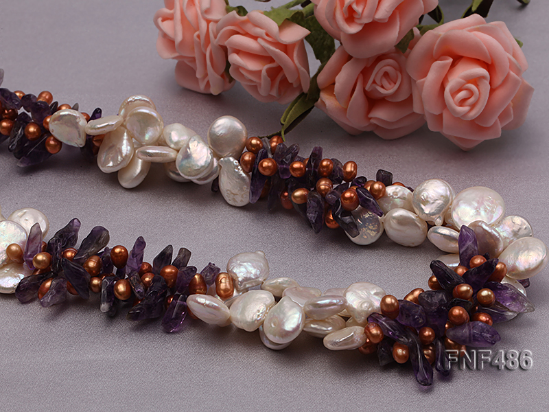Three-strand White and Coffee Freshwater Pearl and Purple Quartz Chips Necklace big Image 4