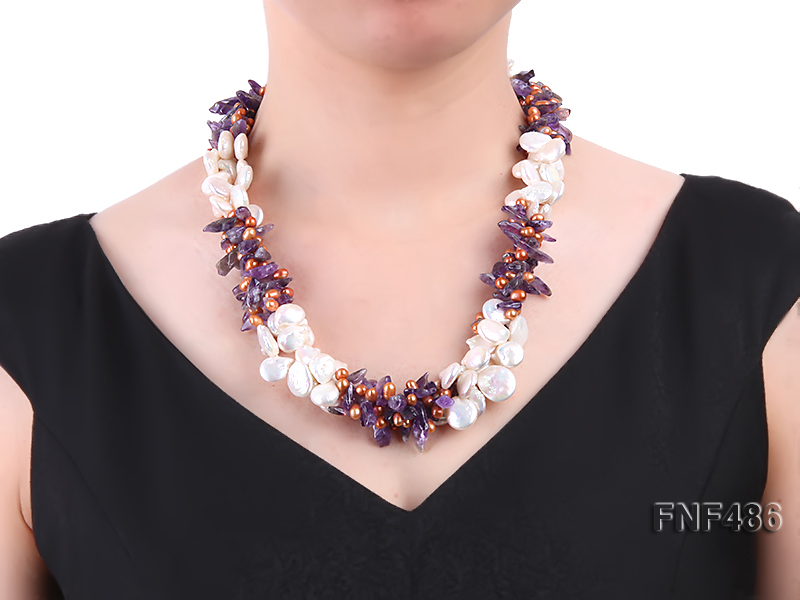 Three-strand White and Coffee Freshwater Pearl and Purple Quartz Chips Necklace big Image 5