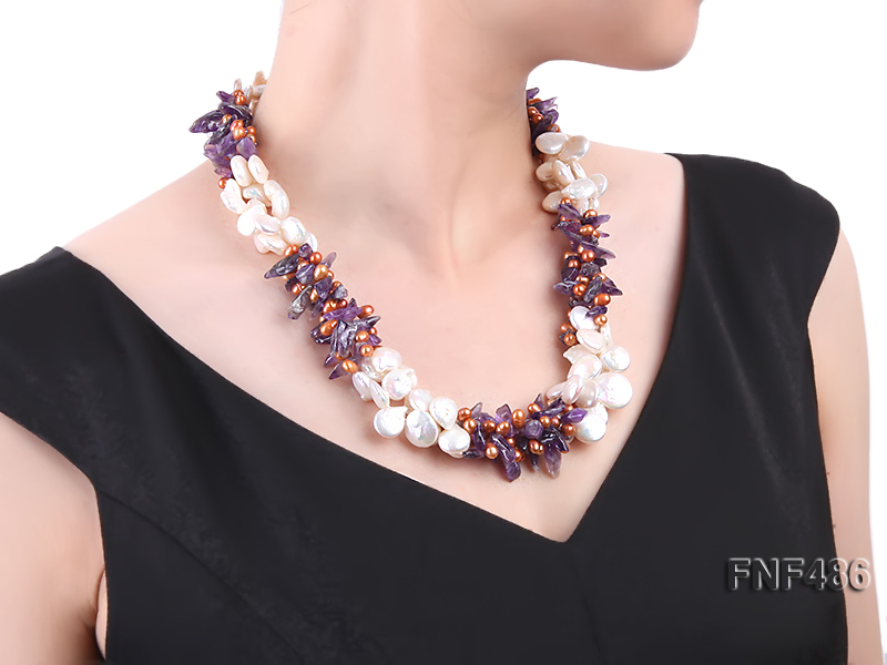Three-strand White and Coffee Freshwater Pearl and Purple Quartz Chips Necklace big Image 6