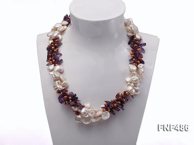 Three-strand White and Coffee Freshwater Pearl and Purple Quartz Chips Necklace FNF486 Image 1