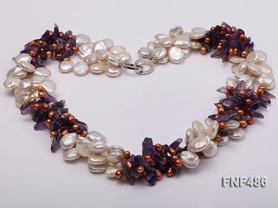 Three-strand White and Coffee Freshwater Pearl and Purple Quartz Chips Necklace FNF486 Image 2