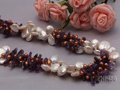 Three-strand White and Coffee Freshwater Pearl and Purple Quartz Chips Necklace FNF486 Image 4