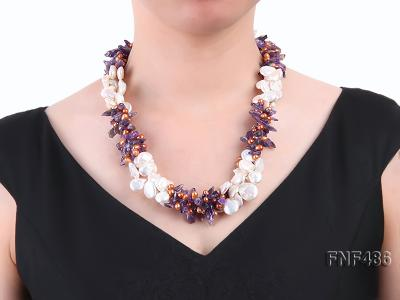 Three-strand White and Coffee Freshwater Pearl and Purple Quartz Chips Necklace FNF486 Image 5