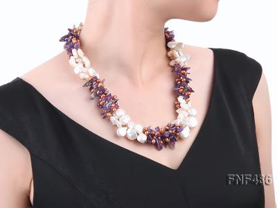 Three-strand White and Coffee Freshwater Pearl and Purple Quartz Chips Necklace FNF486 Image 6