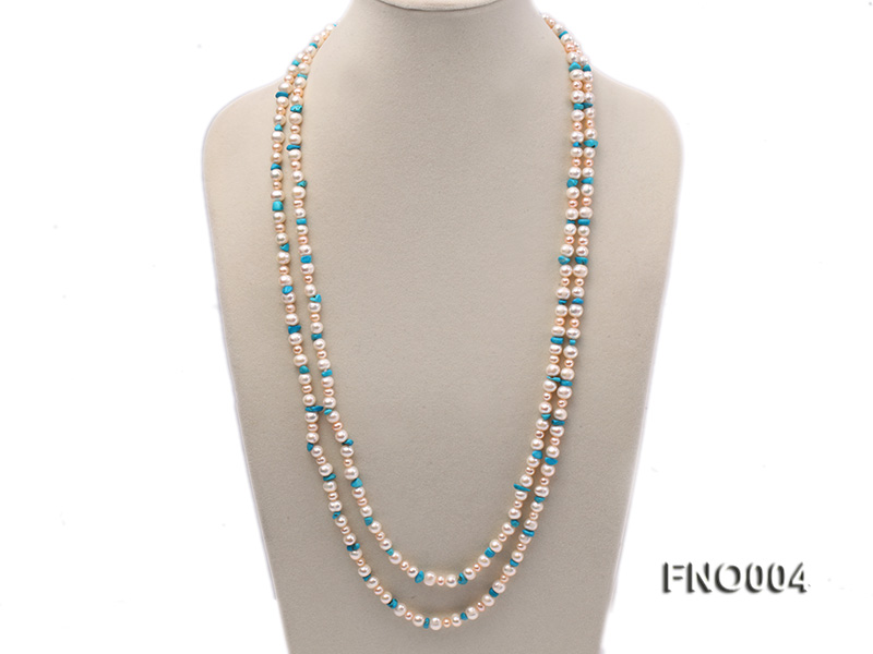 4-5/7-8mm natural white and pink round freshwater pearl with turquoise chips necklace big Image 1