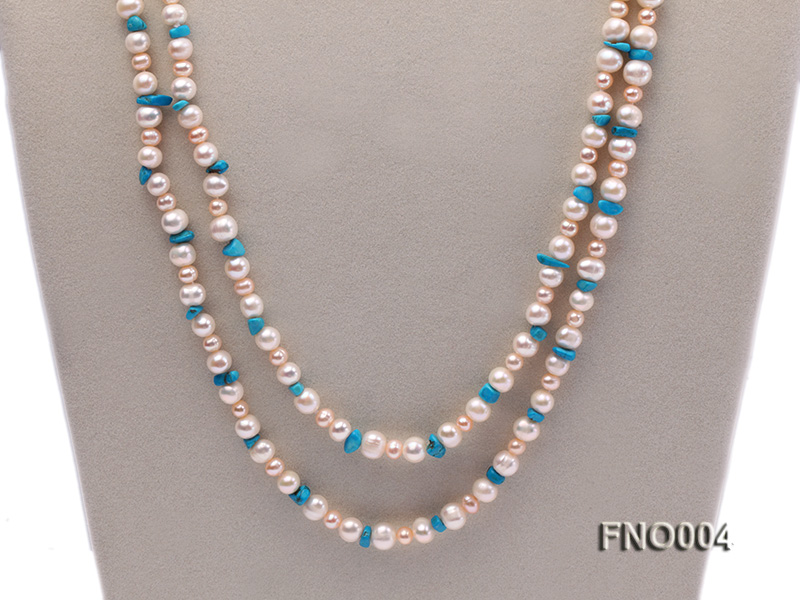 4-5/7-8mm natural white and pink round freshwater pearl with turquoise chips necklace big Image 2
