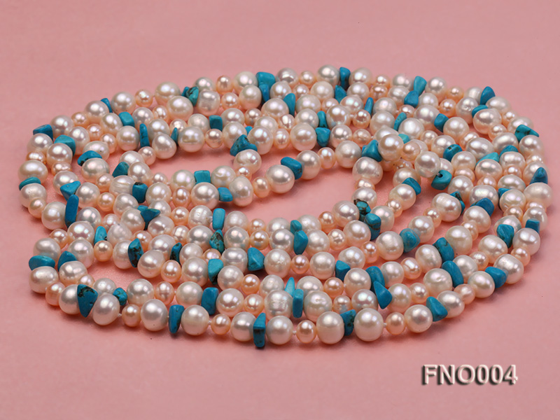 4-5/7-8mm natural white and pink round freshwater pearl with turquoise chips necklace big Image 3