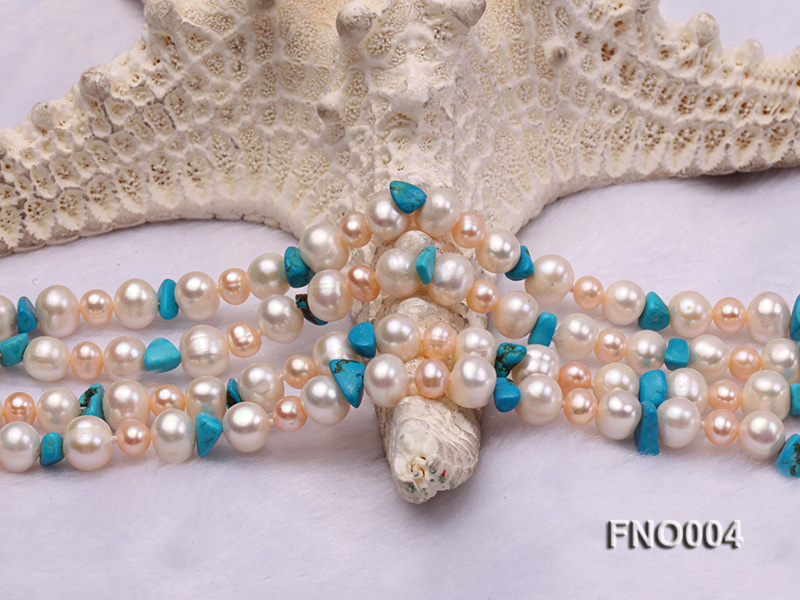4-5/7-8mm natural white and pink round freshwater pearl with turquoise chips necklace big Image 4