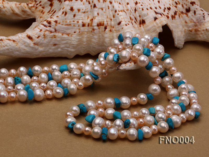 4-5/7-8mm natural white and pink round freshwater pearl with turquoise chips necklace big Image 5