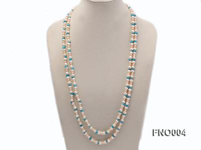 4-5/7-8mm natural white and pink round freshwater pearl with turquoise chips necklace FNO004 Image 1