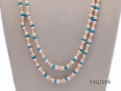4-5/7-8mm natural white and pink round freshwater pearl with turquoise chips necklace FNO004 Image 2