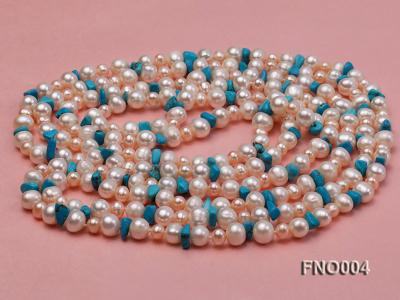 4-5/7-8mm natural white and pink round freshwater pearl with turquoise chips necklace FNO004 Image 3