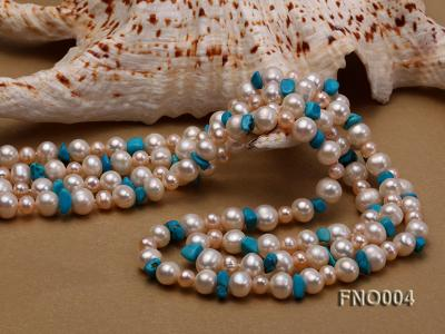 4-5/7-8mm natural white and pink round freshwater pearl with turquoise chips necklace FNO004 Image 5