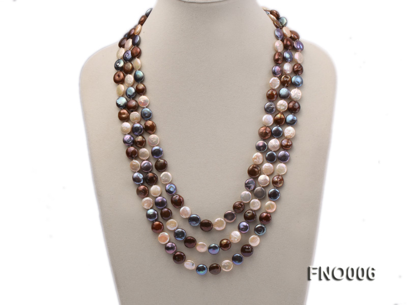 12-13mm multicolor coin freshwater pearl necklace big Image 1