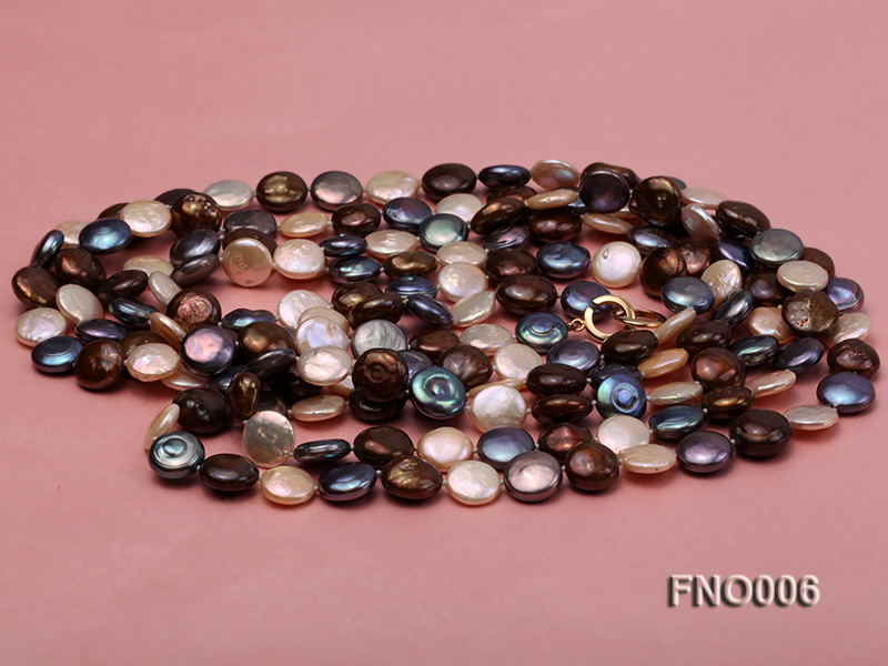 12-13mm multicolor coin freshwater pearl necklace big Image 3