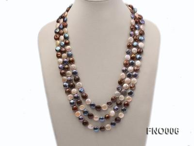 12-13mm multicolor coin freshwater pearl necklace FNO006 Image 1