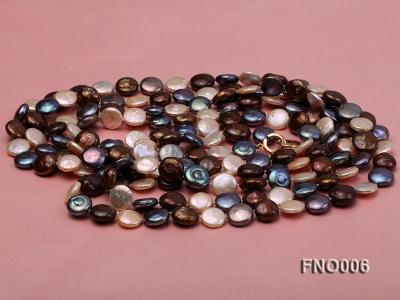 12-13mm multicolor coin freshwater pearl necklace FNO006 Image 3
