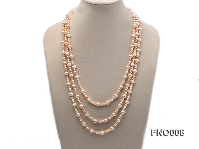 5-6/8-9mm natural white and pink round freshwater pearl necklace big Image 1