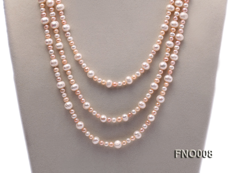 5-6/8-9mm natural white and pink round freshwater pearl necklace big Image 2