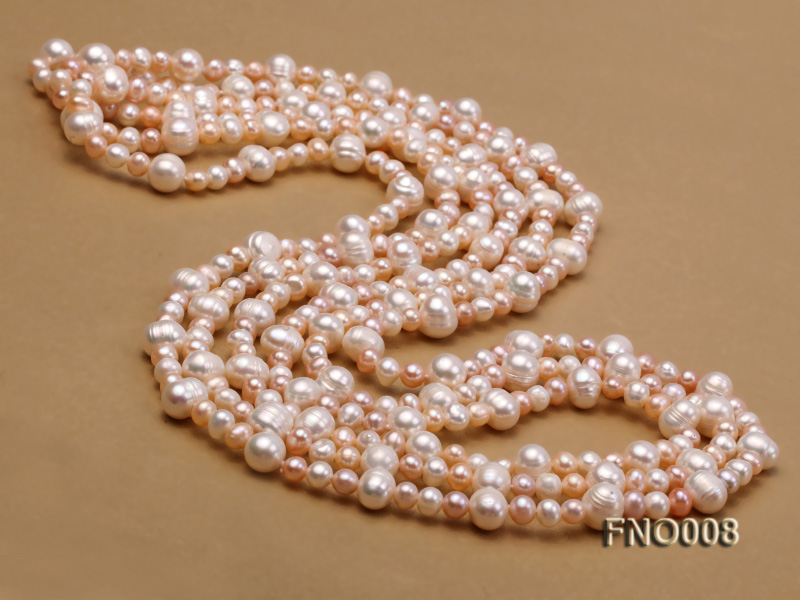 5-6/8-9mm natural white and pink round freshwater pearl necklace big Image 3