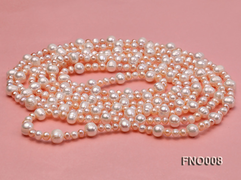 5-6/8-9mm natural white and pink round freshwater pearl necklace big Image 4