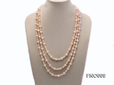 5-6/8-9mm natural white and pink round freshwater pearl necklace FNO008 Image 1