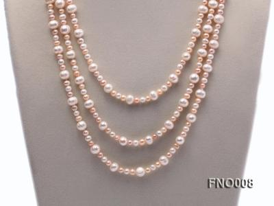 5-6/8-9mm natural white and pink round freshwater pearl necklace FNO008 Image 2