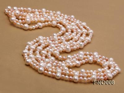 5-6/8-9mm natural white and pink round freshwater pearl necklace FNO008 Image 3