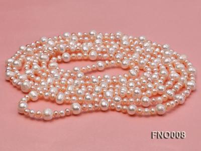 5-6/8-9mm natural white and pink round freshwater pearl necklace FNO008 Image 4