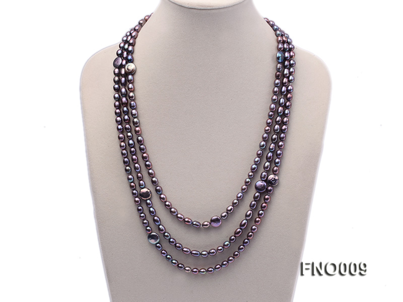 7-8mm black rice freshwater pearl with coin pearl necklace big Image 1