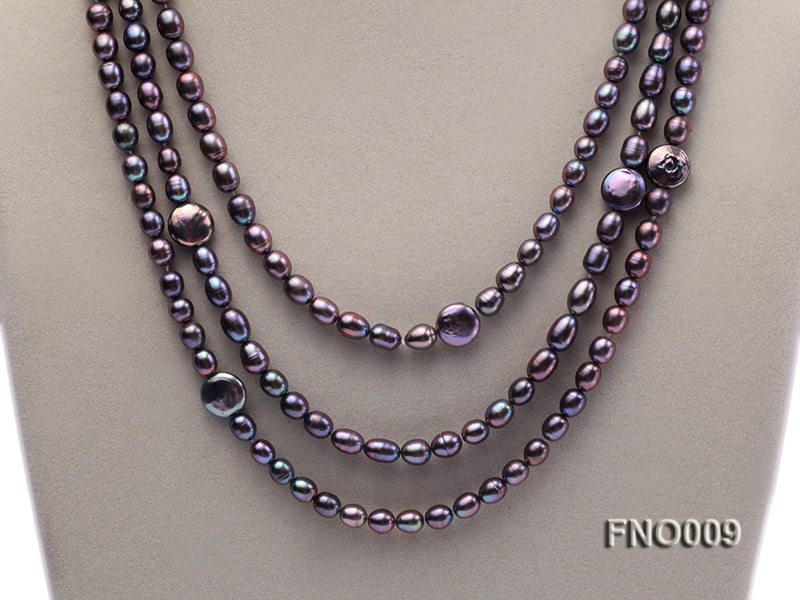 7-8mm black rice freshwater pearl with coin pearl necklace big Image 2
