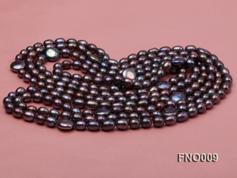 7-8mm black rice freshwater pearl with coin pearl necklace big Image 3