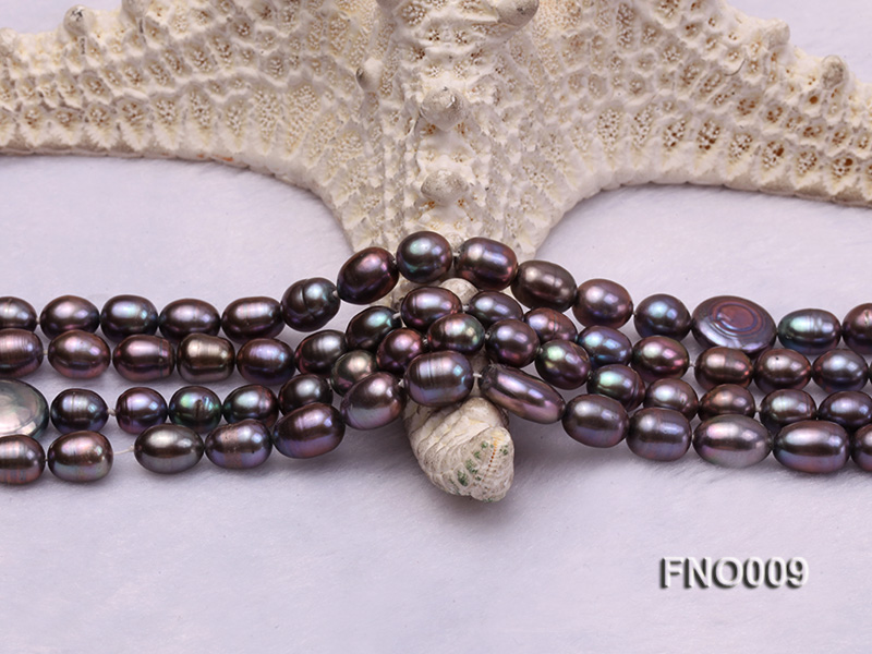7-8mm black rice freshwater pearl with coin pearl necklace big Image 4