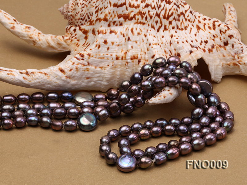 7-8mm black rice freshwater pearl with coin pearl necklace big Image 5