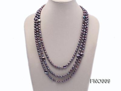 7-8mm black rice freshwater pearl with coin pearl necklace FNO009 Image 1